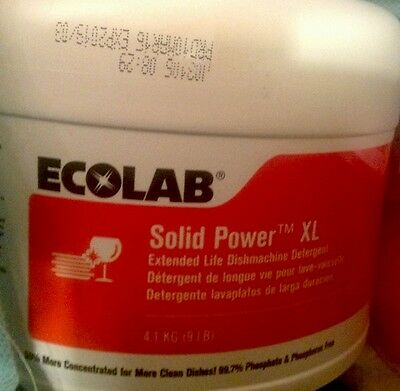 Full Case of 4 Ecolab #6100185 Solid Power XL Dishwashing Detergent. New & Fresh