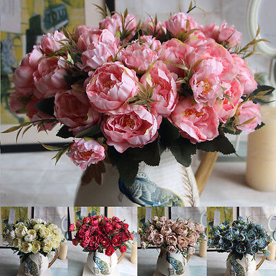 New Artificial Flowers Peony Floral Leaf Bouquet Wedding Party Home Garden Decor