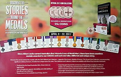 2017 Legends of Anzacs Medals Coin collection set