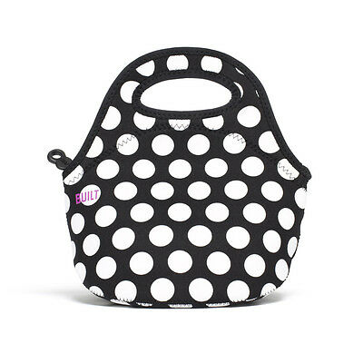 BUILT NY Mini Neoprene Insulated Food Bags Lunch Totes Big Dot Black&White