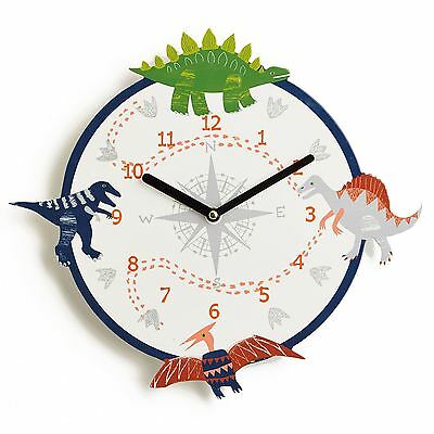Dino Doodles Dinosaur Wall Clock Childrens Bedroom Accessory New Free P+P