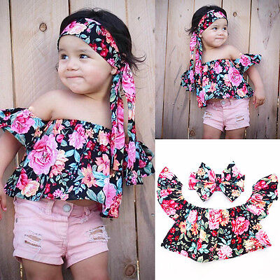 UK STOCK Baby Kids Girls Summer Floral Off Shoulder Tops + Headband 2Pcs Set