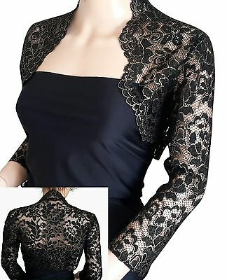 Womens Black/Silver or Black/Gold lace 3/4 sleeve BOLERO jacket UK sizes 8 -18