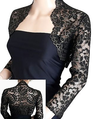 Womens Black Silver or Black Gold lace 3/4 sleeve BOLERO jacket UK sizes 8 -18