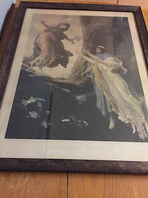 """Large 1892 Colourised Photogravure """"The Return of Persephone"""" after Leighton"""