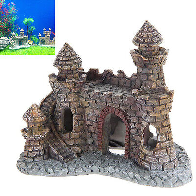 Vintage Resin Tower Castle Cave Aquarium Ornament Fish Tank Decor Accessories UK
