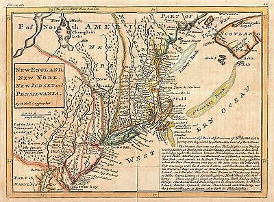 12x18 inch Reprint of Old Maps New York New England New Jersey Pennsylvania