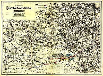 12x18 inch Reprint of American Railroad Map Chester Iron Mountain Western