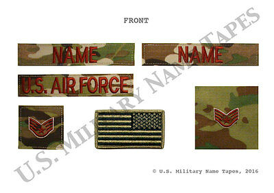U.S. Air Force OCP 6-piece Name Tape, Service Tape, Rank Patch & Flag Patch Set