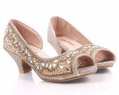 Champagne Blink Rhinestones Kids Open Toe Girls Kitten Heels Youth Party Shoes