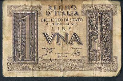 Italy Banknote  1 P26 1939 Vg