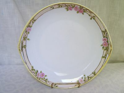 Nippon Pink Rose Raised Gold Beaded Porcelain Cake Plate Hand Painted