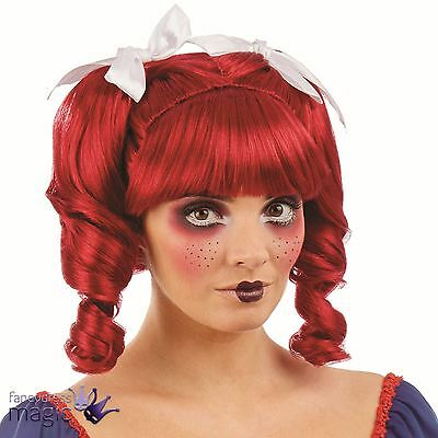 Ladies New Red Ragdoll Fancy Dress Costume Wig with Ringlets Fringe Ribbons Bows