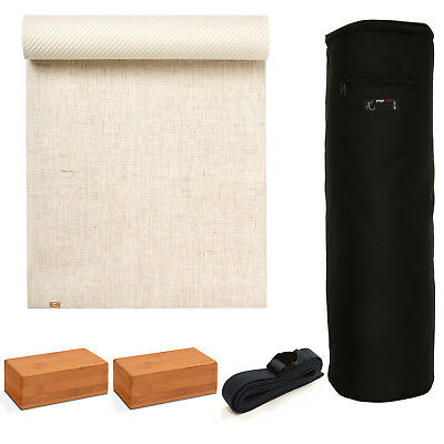 Yoga Studio - EcoYoga Starter Kit - 2x Bamboo Bricks & Strap - Various Colours