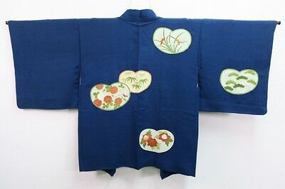 Vintage Japanese Ladies' Navy Silk Blend Kimono Eve Jacket 'Floral Hearts' Small