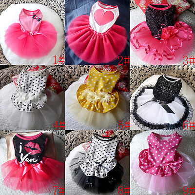 Cute Small Pet Dog Clothes Puppy Cat Tutu Dress Lace Princess Skirt Apparels New