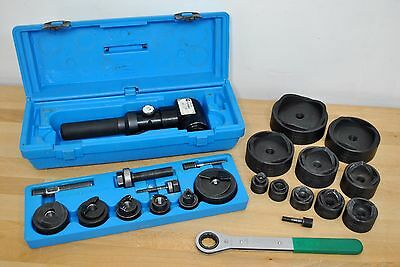 """Ideal Greenlee LH Dottie Tools ½""""–4"""" Hydraulic Knockout Punch Driver Set 35-759"""