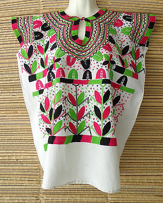 Mexican Blouse Huipil Tunic Mayan Maize Flowers Embroidery from Chiapas M/L