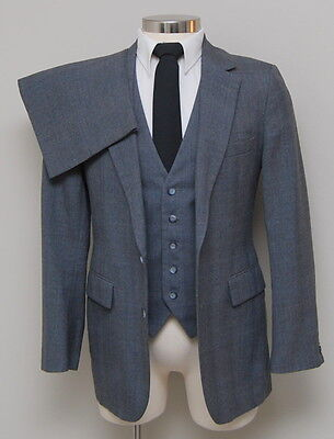 Vintage Mens 38R Kuppenheimer 3 Piece Grey/Blue Glen Check Wool Suit