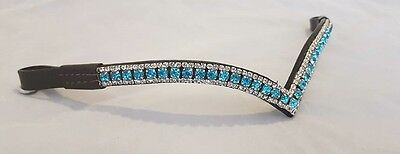 Equipride Beautful V Shape Crystal Bling Sparkly Browband Turquoise New in UK