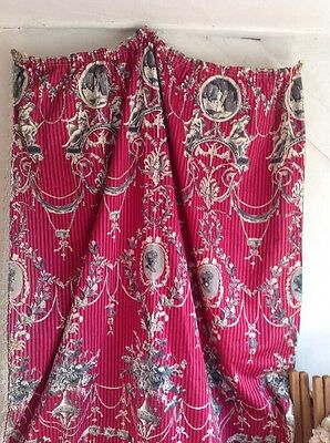 Vintage French Fabric Curtain Panel Neo Classical Raspberry Sherbet Furnishings