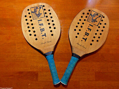 Vintage I.f.b.t Professional Beach Tennis Wood Paddles/racquets Pair.