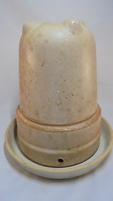 Vintage Glazed Stoneware Inverted-bell Chicken Waterer two pieces