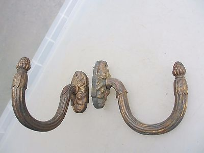 Antique Brass Curtain Tie Backs Hooks French Gilt Leaf fruit Cone Late 1800's