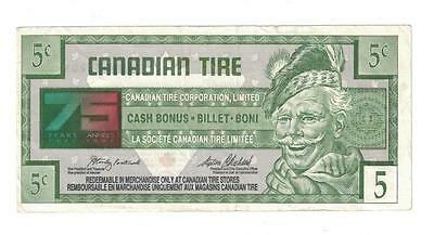 1996 CANADIAN TIRE MONEY 75 Year of Service 5 Cent Note