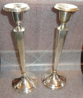 fine old pair sterling silver tall single candlesticks