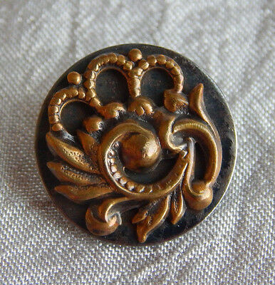 Antique Vintage Brass & Steel Button  #938-A