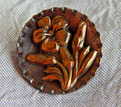 Antique Vintage Brass & Steel Button  Flower  #943-A