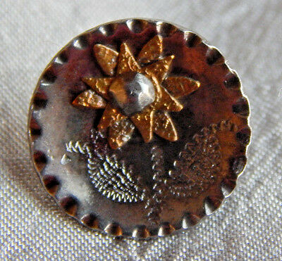 Antique Vintage Steel Cup Button with Cut Steel Sun Flower #926-A