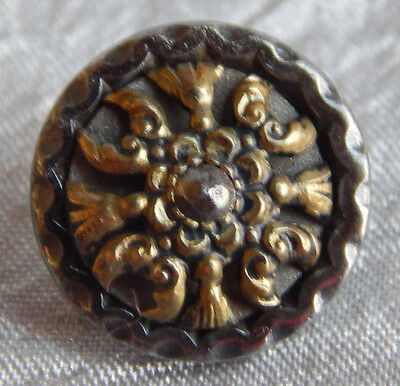 Antique Vintage Brass & Steel Button with Cut Steel Rivet  #941-A