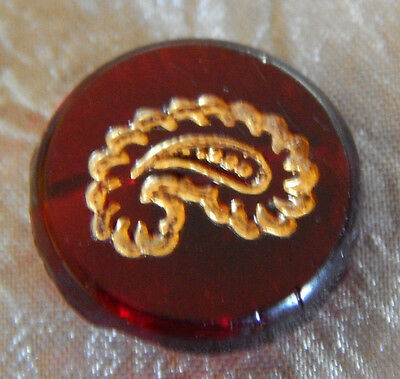 Antique Vintage Red Glass Button Gold Luster Paisley  #040-B