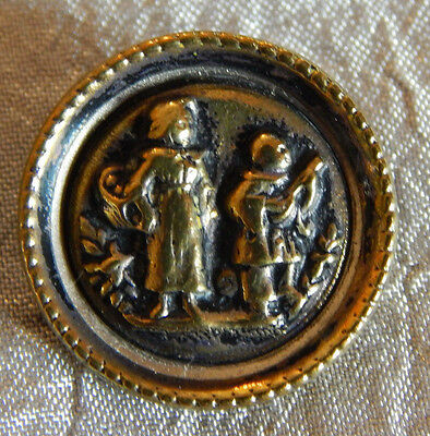 Antique Vintage Brass Picture Button Man serenading Woman #010-B