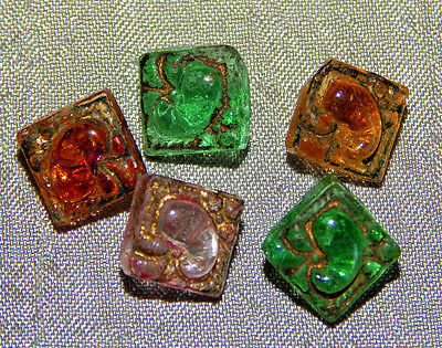 Lot of Antique Vintage Diminutive Glass Buttons Paisley   #035-B