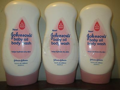 Lot of 3 Johnson's Baby Oil Body Wash 13.5 oz.