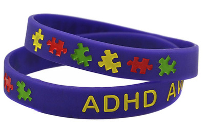 ADHD Awareness Wristband Bracelet Purple Silicone