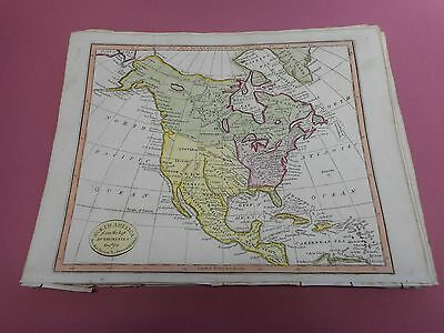 100% Original North America  Map By Lawson Halifax C1812 Vgc Original Colour