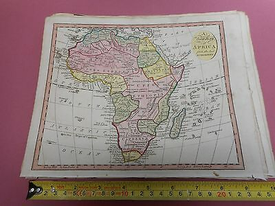 100% Original Africa  Map By Lawson Halifax C1812 Vgc Original Colour