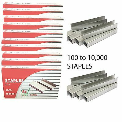 1000 to 10000 BULK BUY 24/6 26/6 STAPLES FOR STAPLERS - BOX OF 1000