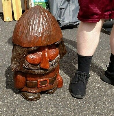 LARGE!! RARE! Vintage Wooden Hand Carved Norwegian Troll Statue, 2 Feet Tall