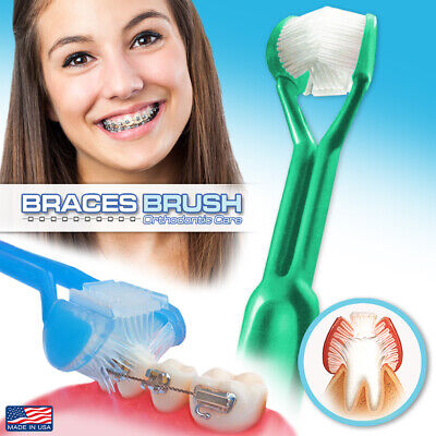 DenTrust BRACES BRUSH 3-Sided Toothbrush :: Orthodontic Care ~ CLINICALLY PROVEN