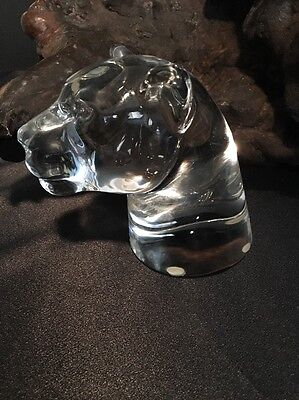 Glass Panther Head Statue / Circa 1980s / Paperweight - Mantle Decor