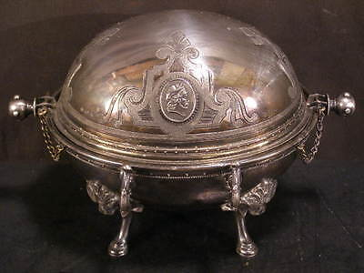 ~Victorian Silver Aesthetic Movement Roll Top Revolving Dome Server Butter Dish~