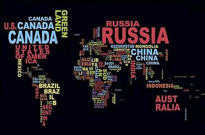 A3 Size Poster Print - World Map Colour Names Wall Art #40