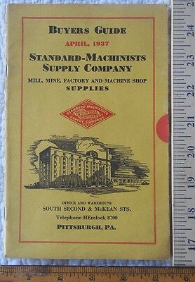 1937 Standard Machinists Supply Catalog Pittsburgh PA