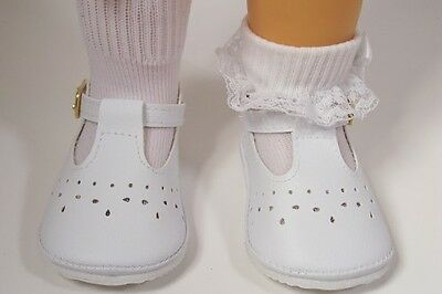 WHITE Old Fashion T-Strap Tstrap Cut-Out  Doll Shoes For Chatty Cathy (Debs)