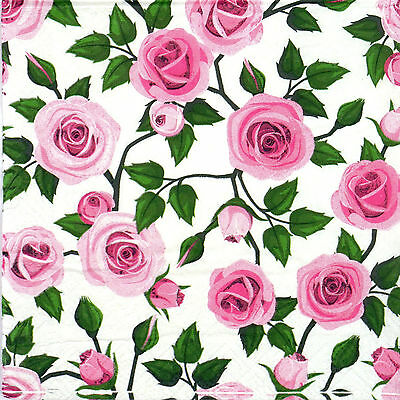 4x Paper Napkins for Decoupage Decopatch Craft Vintage Pink Roses